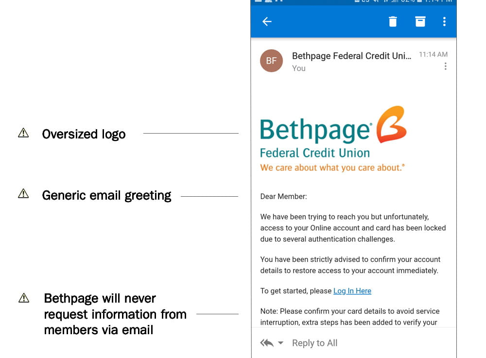 Bethpage Fraud Email Example