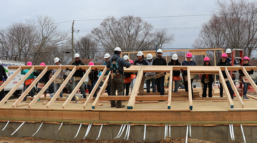 Bethpage Employees volunteering at Habitat For Humanity