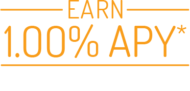 icon yellow and white earn 1.00% apy on your balance